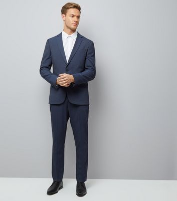 Blue Skinny Suit Jacket New Look