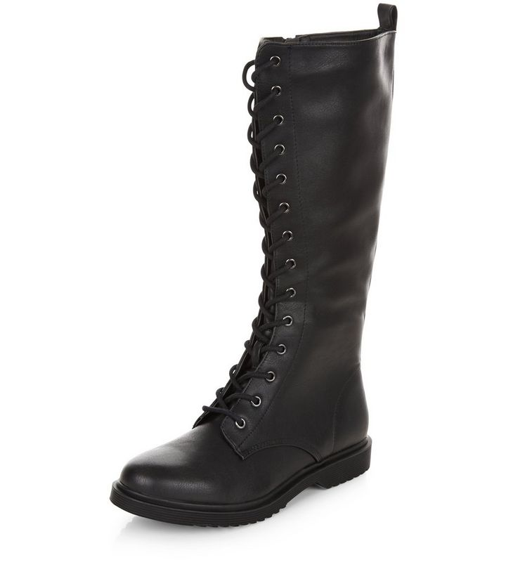 Black Lace Up Knee High Boots   New Look 4683d0b34116