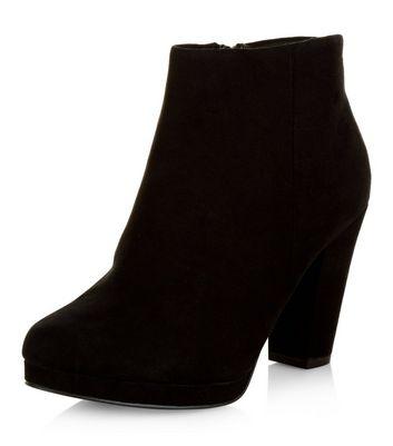 Wide Fit Black Suedette Platform Ankle