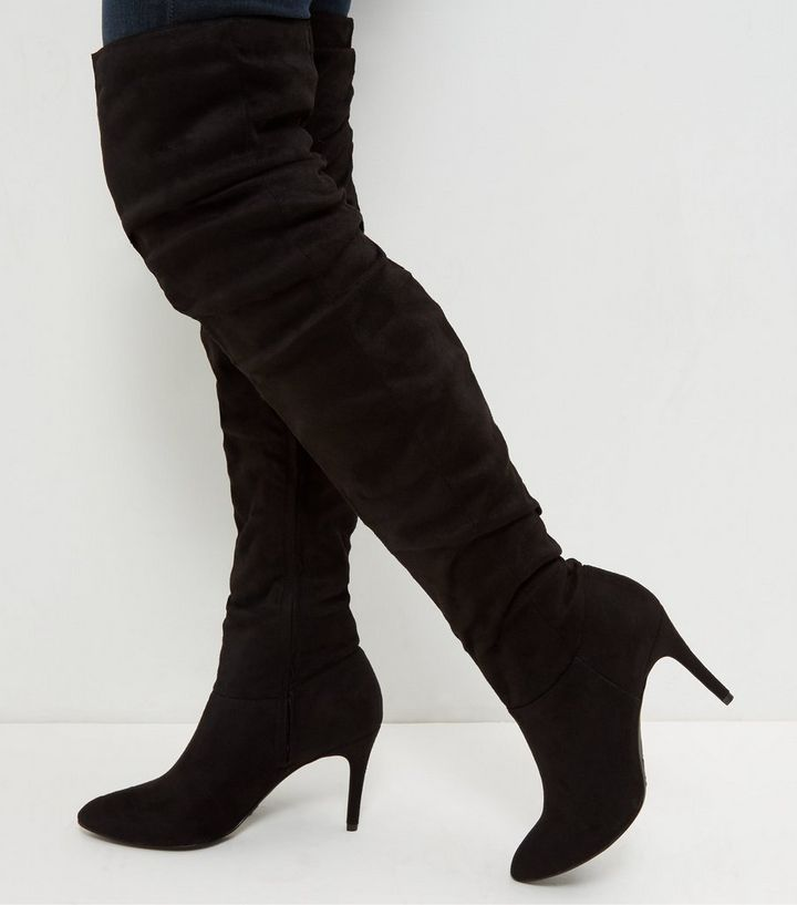 6f4275dc2a2 Black Suedette Ruched Pointed Over The Knee Boots