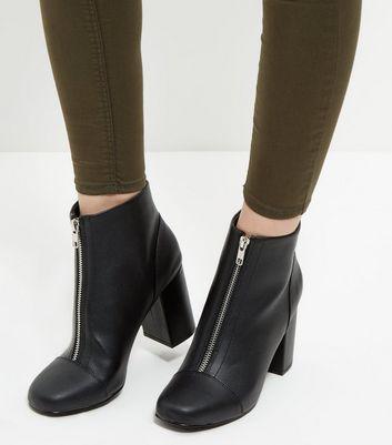 Black Zip Front Block Heel Ankle Boots