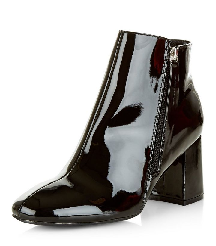 ab6b2c49fa2 Black Patent Flared Heel Ankle Boots | New Look