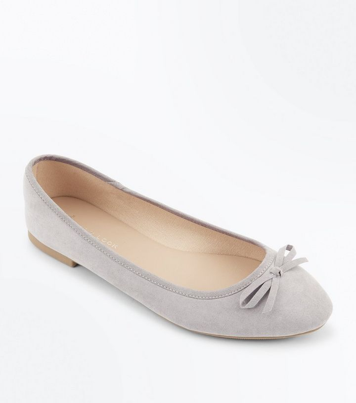 shop best sellers shoes for cheap first look Wide Fit Grey Suedette Ballet Pumps Add to Saved Items Remove from Saved  Items