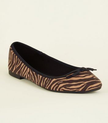 Wide Fit Brown Zebra Suedette Ballet Pumps