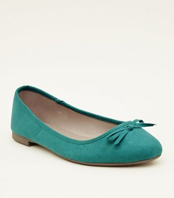 Wide Fit Dark Green Suedette Ballet Pumps