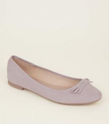 Wide Fit Lilac Suedette Ballet Pumps New Look