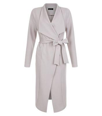 Grey Tie Waist Waterfall Duster Coat New Look