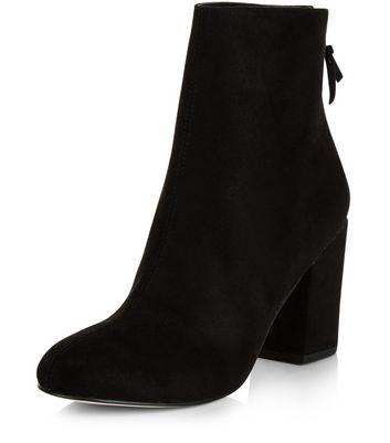 Black Suedette Pointed Block Heel Ankle