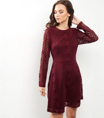 90aeb9fc53b4 Burgundy Lace Long Sleeve Skater Dress