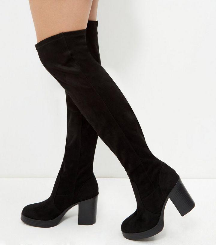 dbfb37dd575 Black Suedette Block Heel Over The Knee Boots
