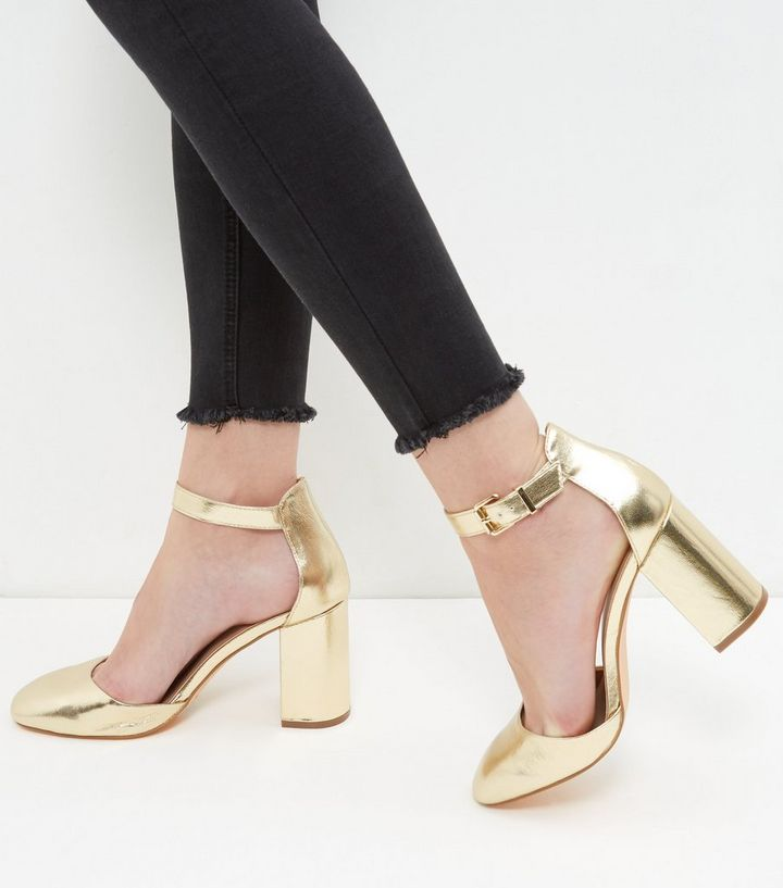 b7350dfd5a8 Gold Ankle Strap Block Heels