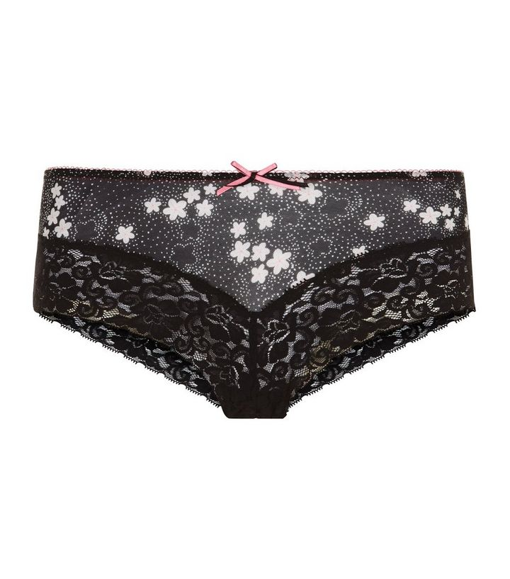 cd1bdd14f57 Black Ditsy Floral Lace Leg Brazilian Briefs | New Look