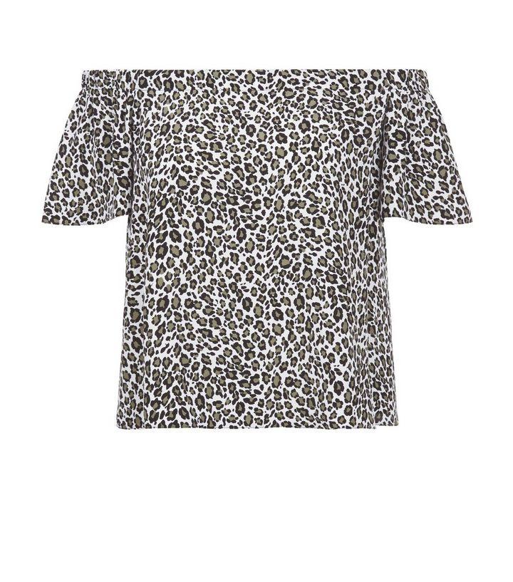 296a14a584750 White Leopard Print Bardot Neck Top