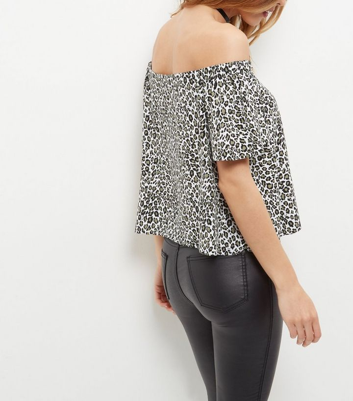 53c8cdfe6b19 ... White Leopard Print Bardot Neck Top. ×. ×. ×. Shop the look