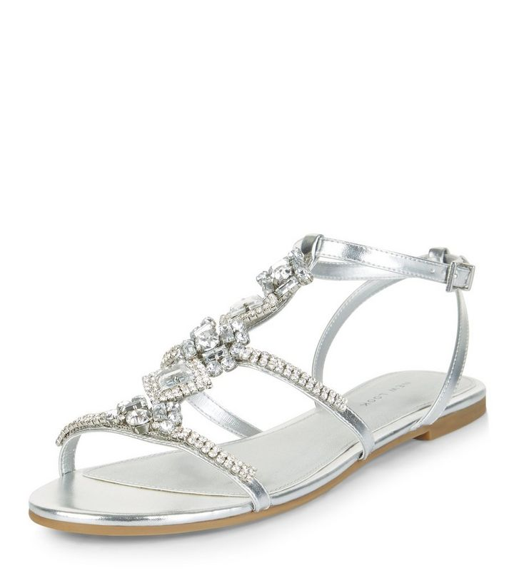 56555c2d09f Silver Diamante Embellished Sandals