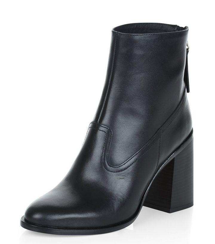 e62e5df188e2 Black Premium Leather Flared Block Heel Boots