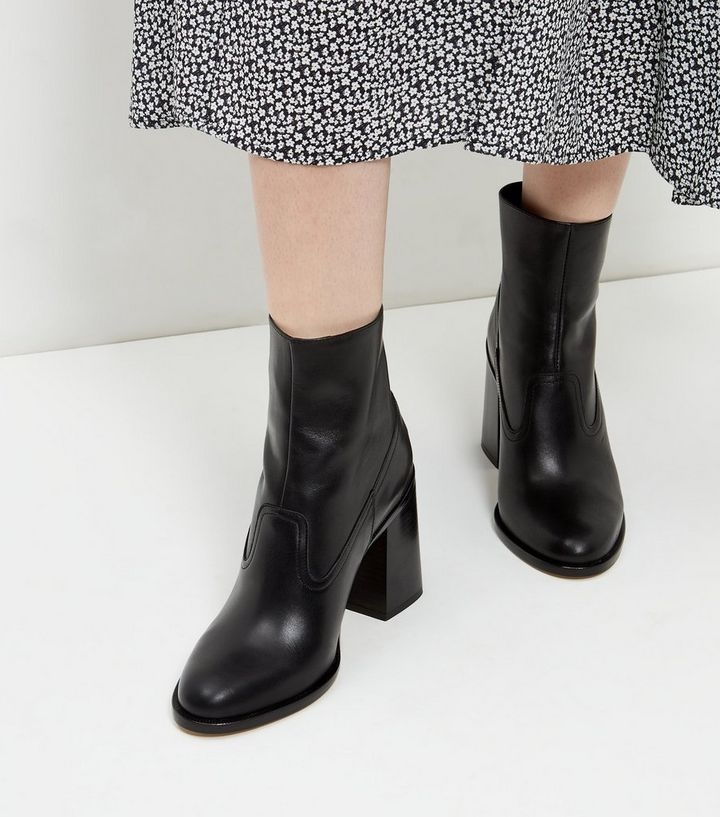 096931f88ff6 ... Black Premium Leather Flared Block Heel Boots. ×. ×. ×. VIDEO Shop the  look