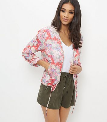 Red Floral Print Bomber Jacket New Look