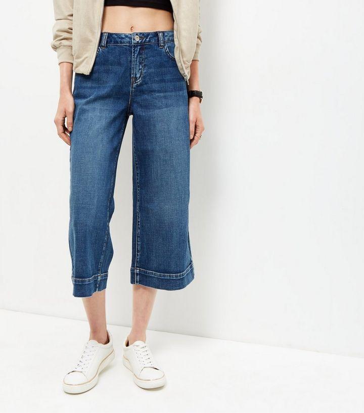 1f4cb1e18b01c Jupe-culotte en jean bleu   New Look
