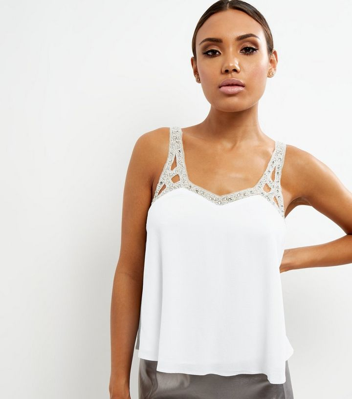 0b35643e468f White Embellished Strap Cami Top | New Look