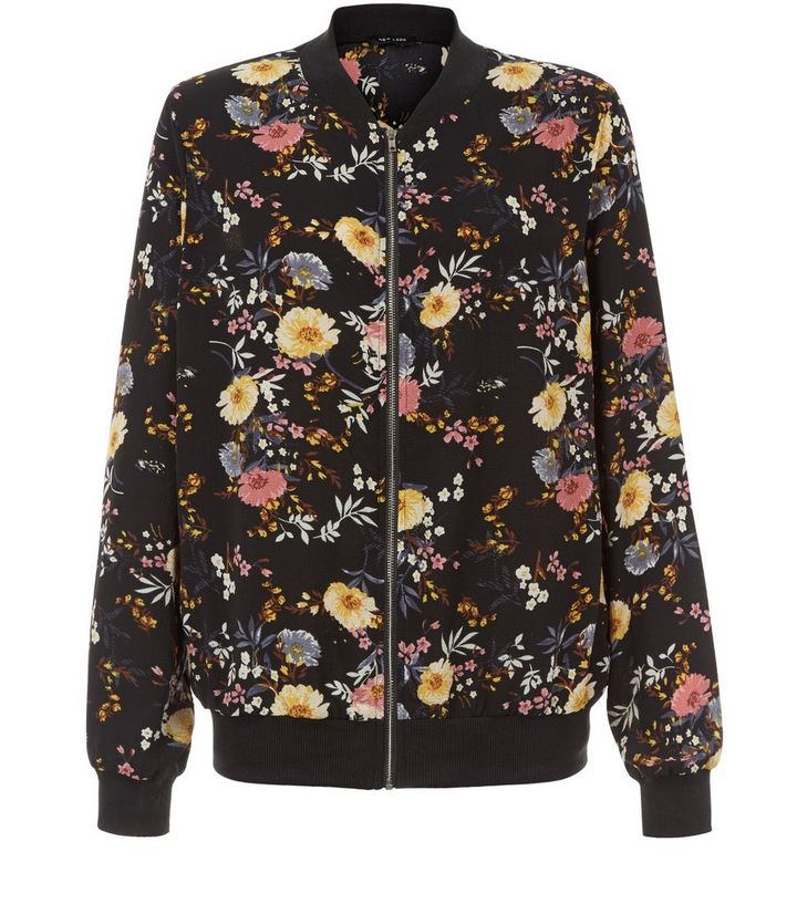 49cf3526fa72a Black Floral Print Bomber Jacket | New Look