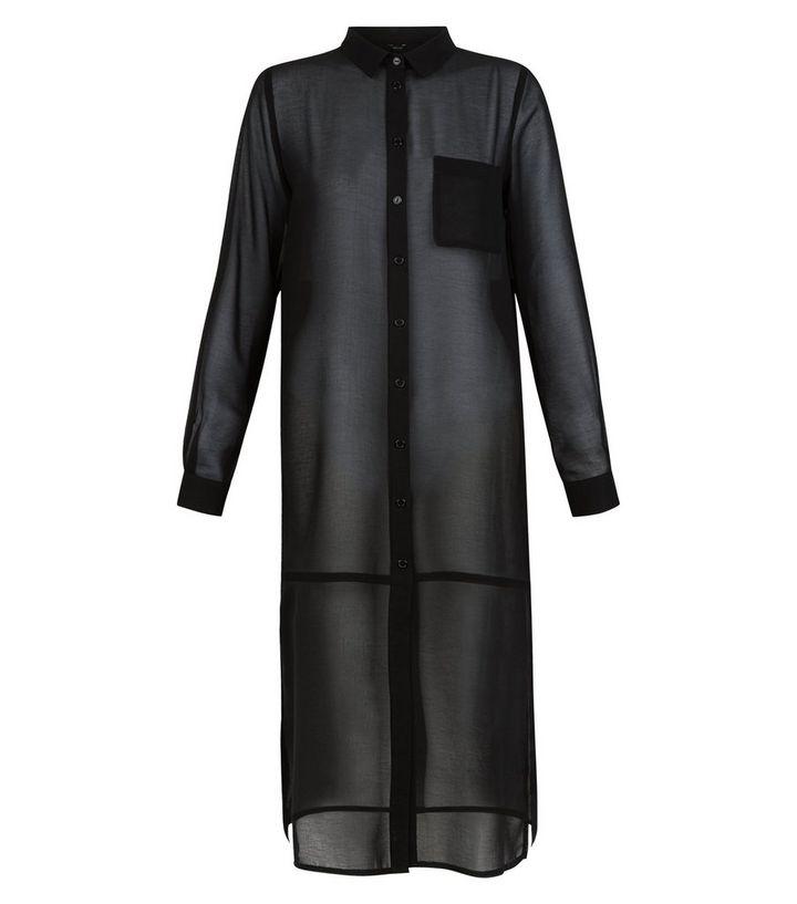 e9336ba31 Black Sheer Single Pocket Longline Shirt   New Look
