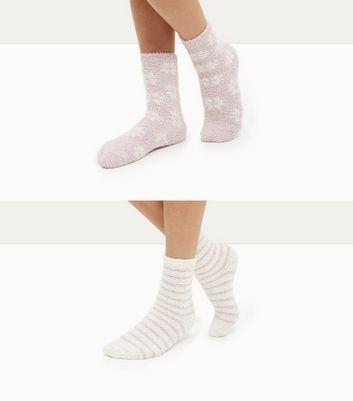 2 Pack Pink Stripe and Snowflake Print Socks New Look