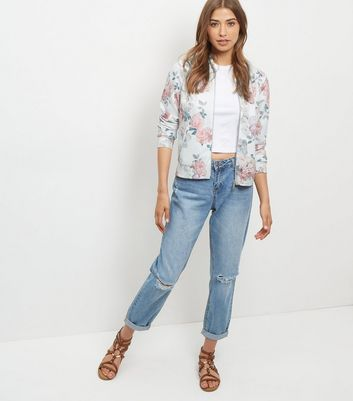 White Scuba Floral Print Bomber Jacket New Look