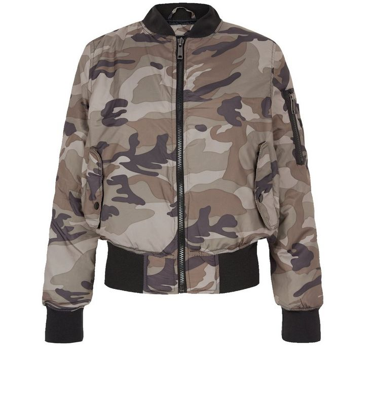 3ea5779a54dc5 QED Green Camo Print Bomber Jacket | New Look