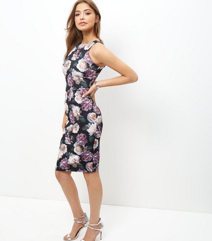 7f0eaf2d5b43c Black Floral Print Bodycon Midi Dress | New Look