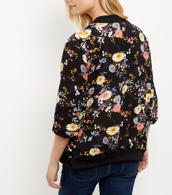 5e8f5b4fc422a ... Maternity Black Floral Print Bomber Jacket. ×. ×. ×. Shop the look