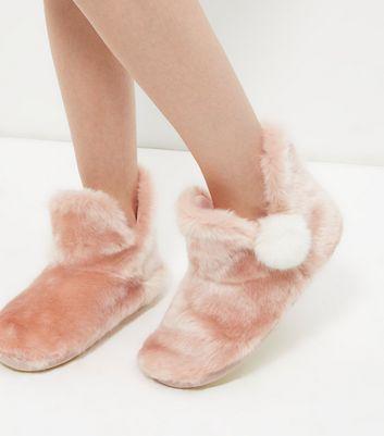 Pink Faux Fur Pom Pom Slipper Boots