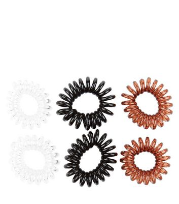 6 Pack White Black and Brown Spiral Hairbands