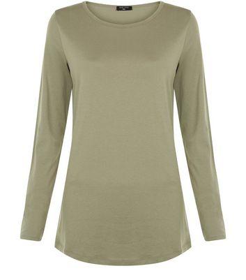 Tall Khaki Long Sleeve Crew Neck T-shirt New Look