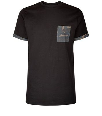 Black Camo Print Pocket And Sleeve T-Shirt New Look