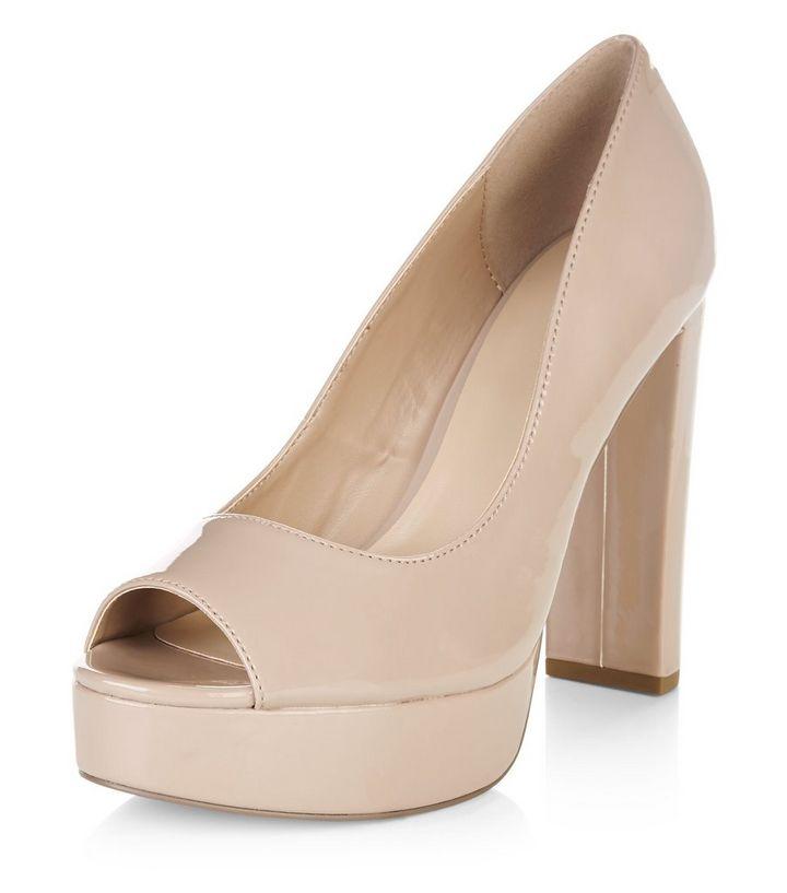 dd6e0a22d05 Pink Peep Toe Platform Block Heels
