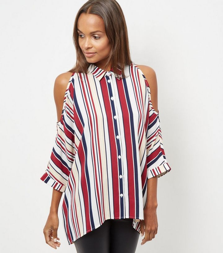 e5c87e866573 White Stripe Cold Shoulder Shirt | New Look