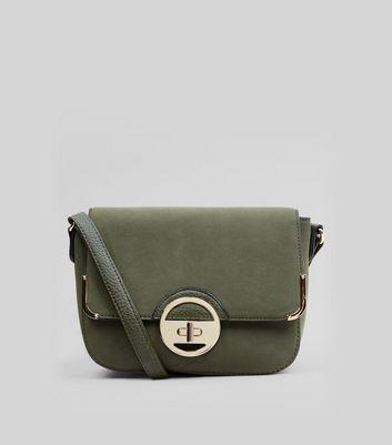 Khaki Circle Twist Lock Saddle Bag New Look