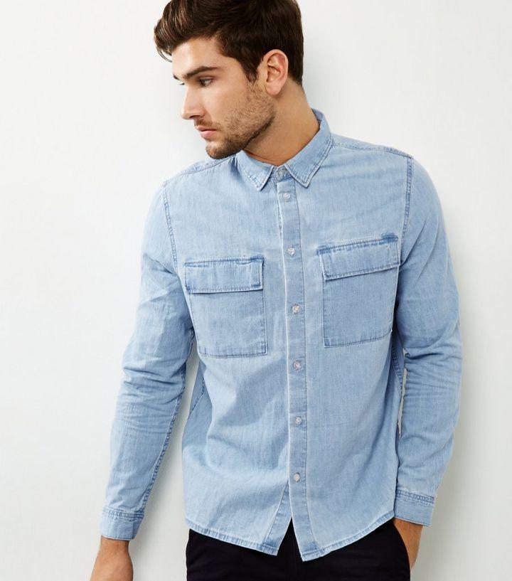 a2c372f3 Blue Denim Double Pocket Long Sleeve Shirt | New Look