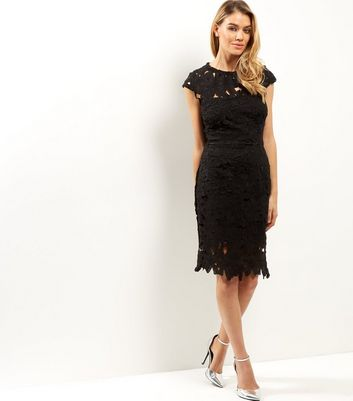 AX Paris Black Crochet Lace Cap Sleeve Midi Dress New Look