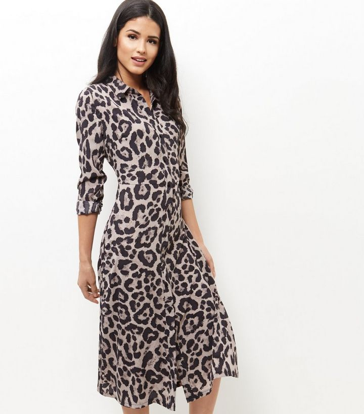 9db0cd1287 Mela Brown Leopard Print Maxi Shirt Dress