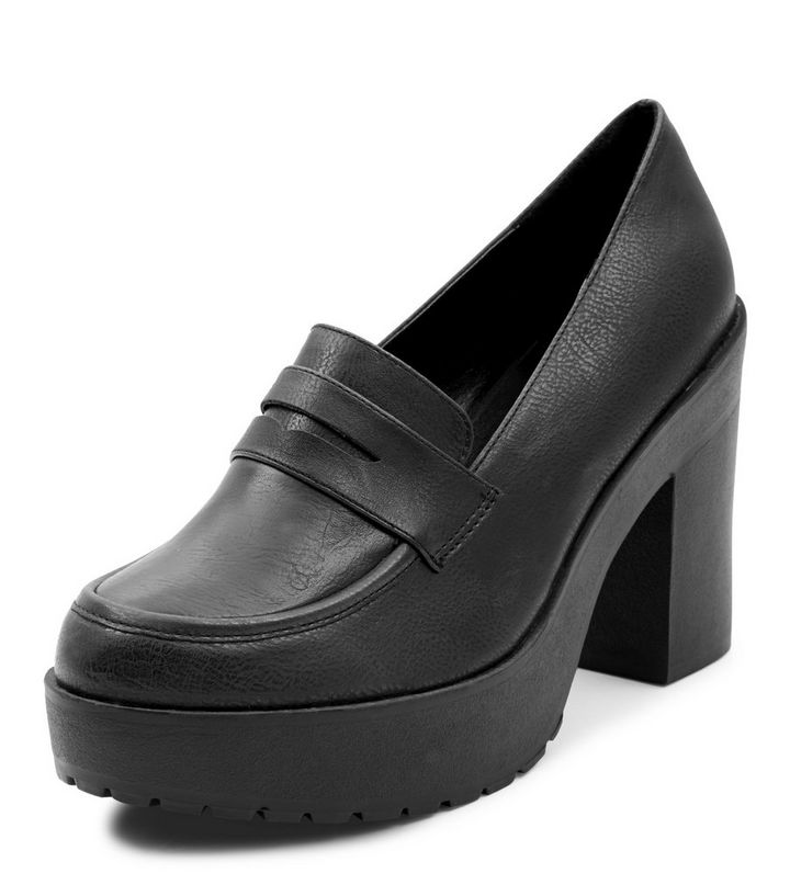 abe438aec088 Black Chunky Loafer Block Heels