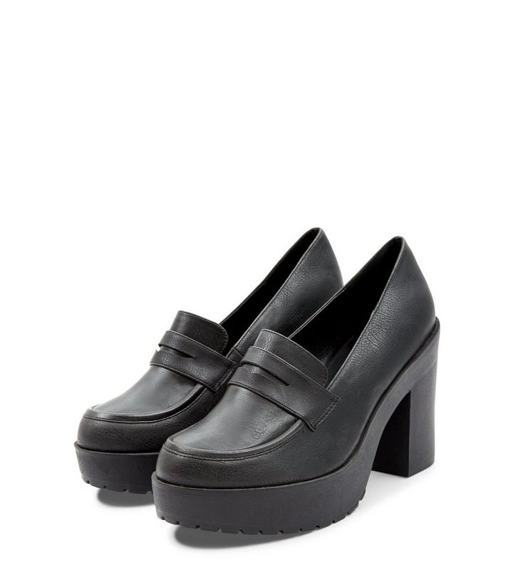 65e6990d0bbf ... Black Chunky Loafer Block Heels. ×. ×. ×. VIDEO Shop the look