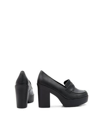 Black Chunky Loafer Block Heels | New Look