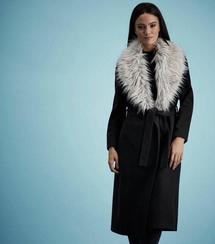 06b26e9fc74d Black Faux Fur Collar Belted Longline Coat