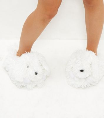 White Fluffy Dog Slippers | New Look