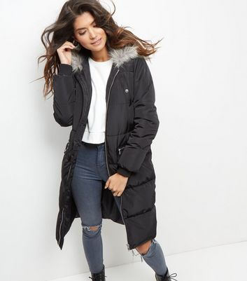 New Look padded parka coat in black