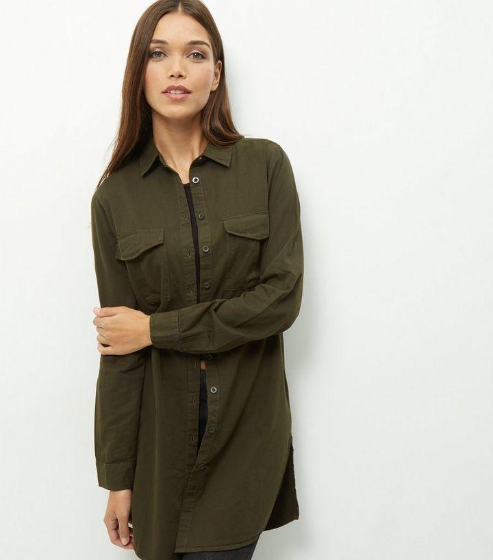 1d16f2cc Khaki Longline Shirt   New Look