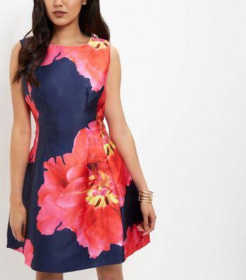 AX Paris Navy Floral Print Sleeveless Dress New Look