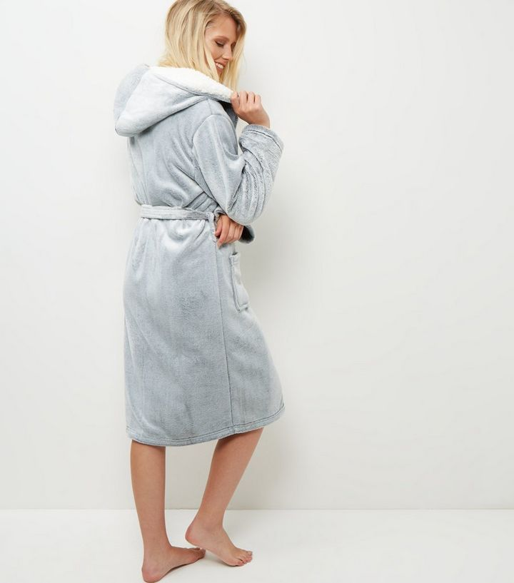Pale Grey Borg Lined Hooded Dressing Gown | New Look